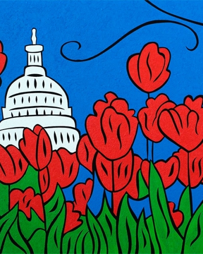 DC Tulip Pop painting by Joel Traylor
