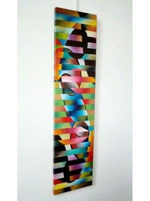 """Genome, 1"", 12""x48"", Oil on canvas, reassembled, 2010 by Joel Traylor"