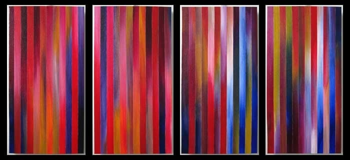 """Gloaming 3,4,5,6"" - Acrylic on canvas, reassembled and mounted to panel"