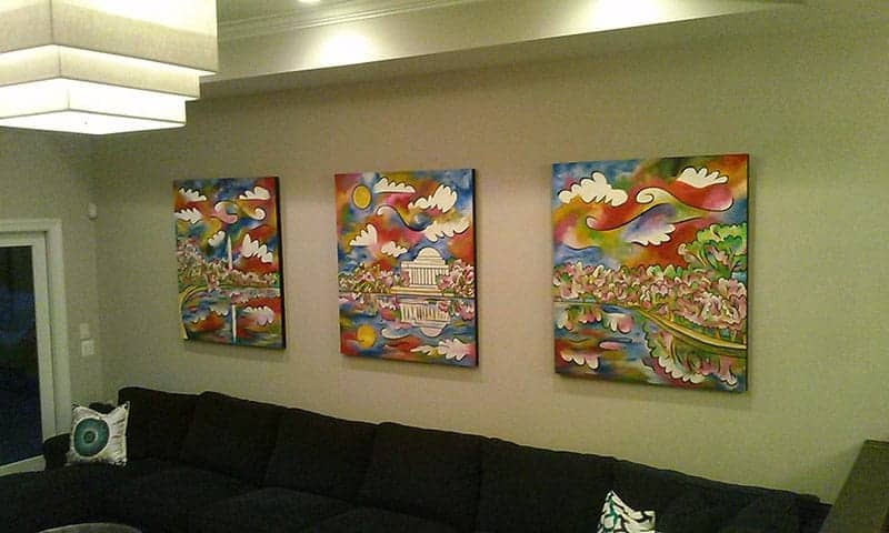 """Tidal Basin Bloom"" ~ triptych ~ 42""x48"" each, textured acrylic on panel.  Commissioned by the Caloramis family."
