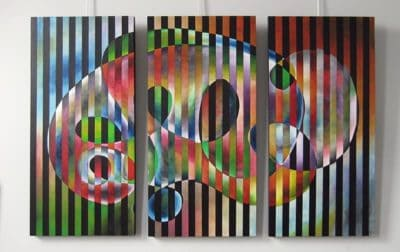"""Metamorphosis, 2"" Oil on canvas, reassembled - Triptych, each 24""x48"" by Joel Traylor"