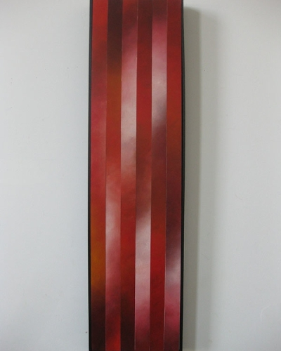 """Rising, 3"", 12""x48"", Oil on canvas, reassembled, 2010"