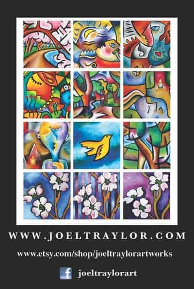 Joel Traylor.com postcard.  Layout with InDesign and Photoshop