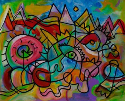"""""""11,000 Bright ideas awaiting their Debut""""  Acrylic and ink on canvas - 20""""x16"""" by Joel Traylor"""