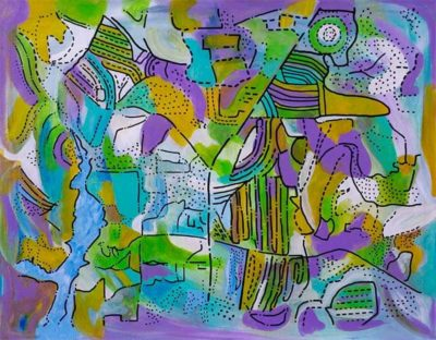 """""""Aerial"""" ~ 16x20, Acrylic and ink on canvas by Joel Traylor"""
