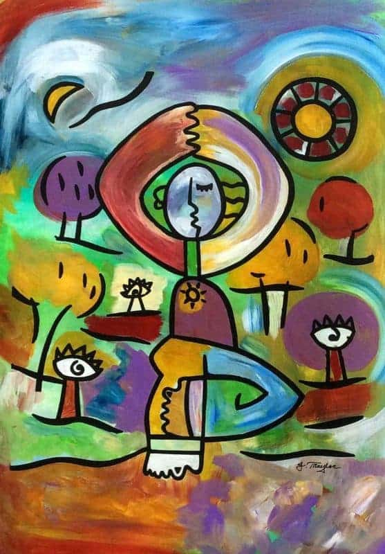 """""""Balance"""" ~ 11x15, Acrylic and ink on canvas by Joel Traylor"""