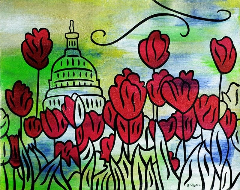 """""""Spring Capitol""""  - 11x14, acrylic and ink on canvas by Joel Traylor"""
