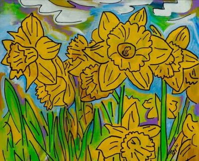 """Daffies Delight"" ~ 20""x16"" ~ Acrylic and ink on canvas ~ by Joel Traylor"