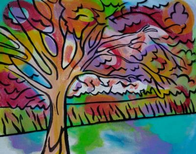 """""""Dreaming Tree"""" - Acrylic & mixed media on canvas - $79 <a href=""""https://www.etsy.com/listing/243827137/original-acrylic-mixed-media-painting-on?ref=related-0"""">Purchase here</a>"""