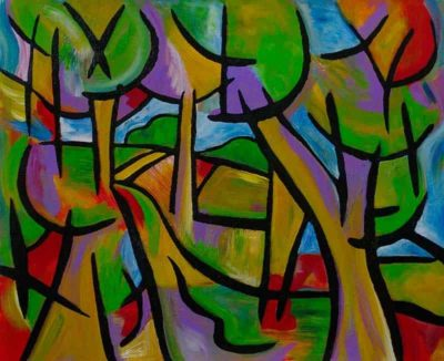 """""""Over Hill Over Dale""""  Acrylic and ink on canvas - 20""""x16"""" <a href=""""https://www.etsy.com/listing/286741025/over-hill-over-dale-original-painting?ref=shop_home_active_1"""" target=""""_blank"""">Available here</a> painting by Joel Traylor"""