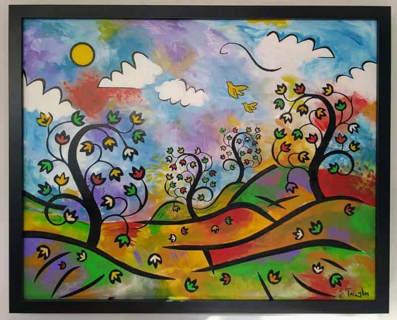 """Trees of Life"" ~ Acrylic and ink on panel, 20""x16"" by Joel Traylor Art"