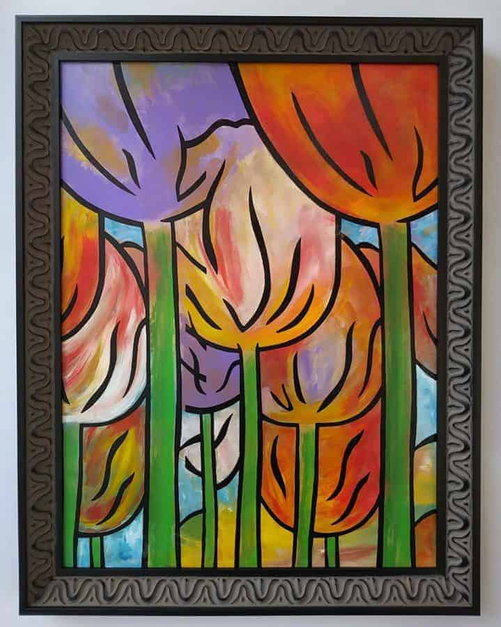 """Tulips Gathering"" ~ Acrylic and ink on panel, framed, 18""x24"" ~ $420 by Joel Traylor Art"