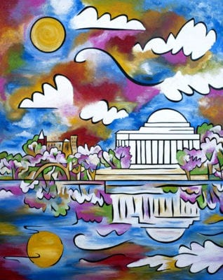 """""""Tidal Basin Bloom, 1"""", 40""""x48"""", acrylic and sand on panel, by Joel Traylor Art"""