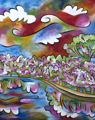 """""""Tidal Basin Bloom, 3"""", 40""""x48"""", acrylic and sand on panel, by Joel Traylor Art"""