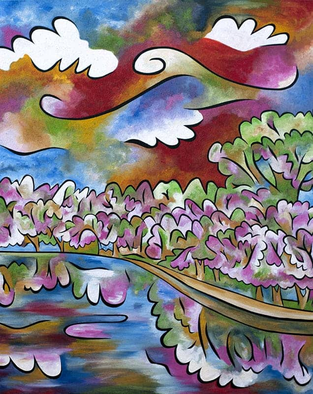 """Tidal Basin Bloom, 3"", 40""x48"", acrylic and sand on panel, by Joel Traylor Art"