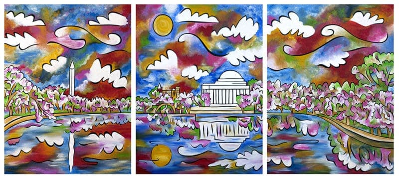 "Tidal Basin Bloom, 1-3, 40""x48"" each, acrylic and sand on panel, by Joel Traylor Art"