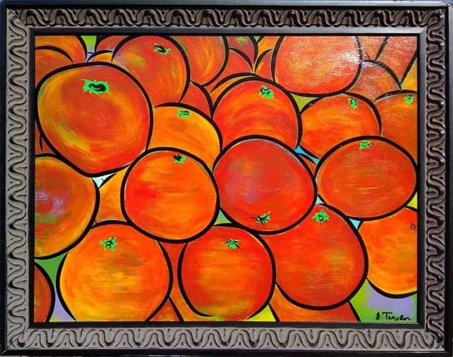 """Heirloom Tomatoes"" ~ 24""x18"", acrylic and ink on board, framed.  Painting by Joel Traylor Art"