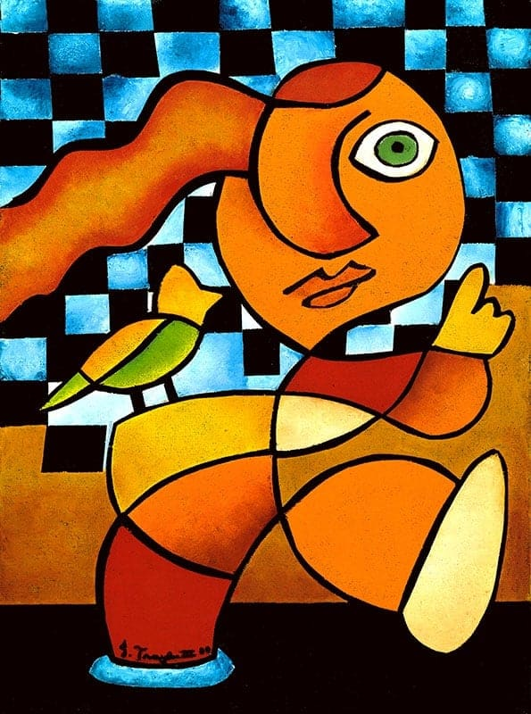 """A Little Bird Told Me"", 2000, 11""x14"", Oil stick on canvas by J. Traylor III"