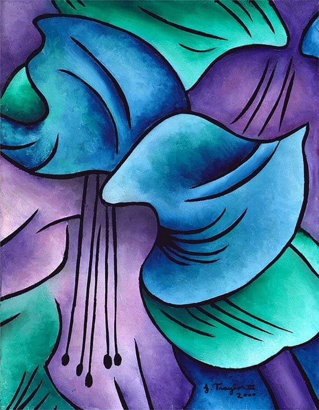 """Amaryllis Blue"", 2000, 11""x14"", oil stick on canvas by J Traylor III"