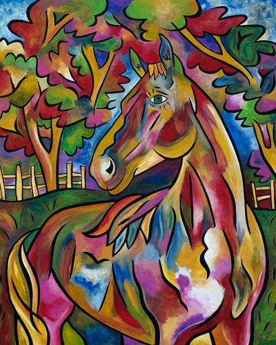 """Charlotte's Horse"" 30""x36"", acrylic on panel by Joel Traylor"