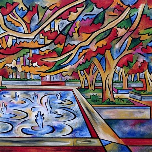 Garden Splendor painting by Joel Traylor based on the Art Institute of Chicago South Garden