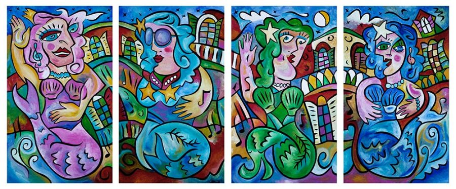 """""""The Sirens of Nola"""" - 18""""x30"""" each piece - Textured acrylic on panel.  2015 by Joel Traylor"""