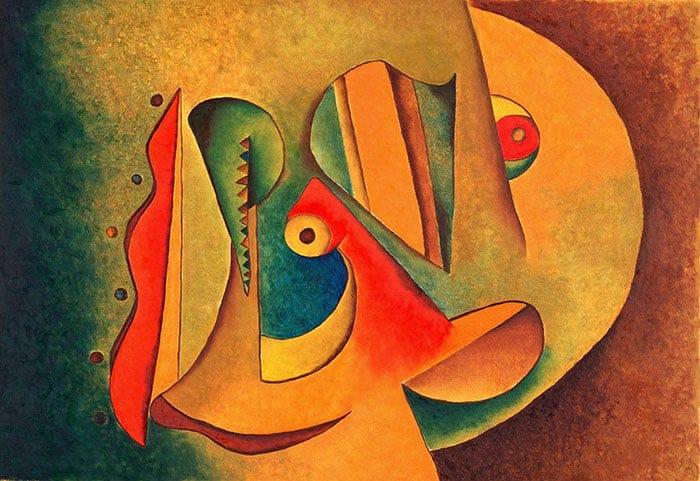 """Introspection"" - oil stick on paper, 1999, 36""x24"" by Joel Traylor"