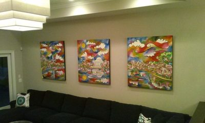 """""""Tidal Basin Bloom"""" - Triptych - 42""""x48"""" each, Acrylic and sand on panel.  Paintings by Joel Traylor"""