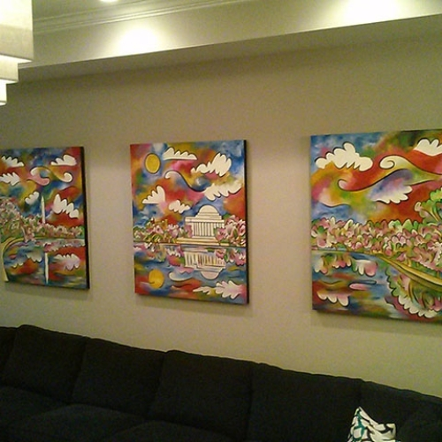 """""""Tidal Basin Bloom"""" ~ triptych ~ 42""""x48"""" each, textured acrylic on panel.  Commissioned by the Caloramis family."""