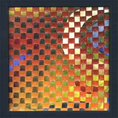 Two acrylic paintings on canvas, sliced and woven together