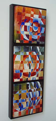 Each piece is two acrylic paintings on canvas, sliced and woven together