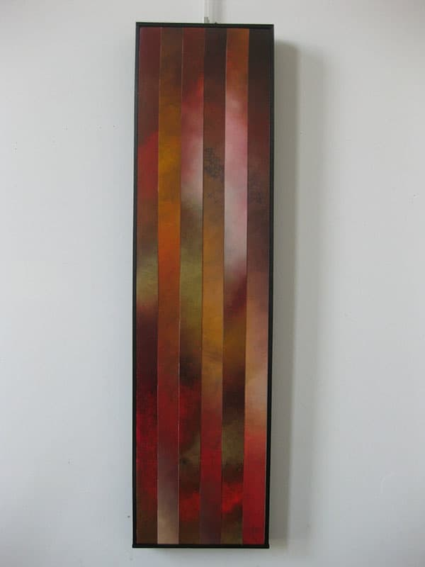 """Rising, 4"", 12""x48"", Oil on canvas, reassembled, 2010"
