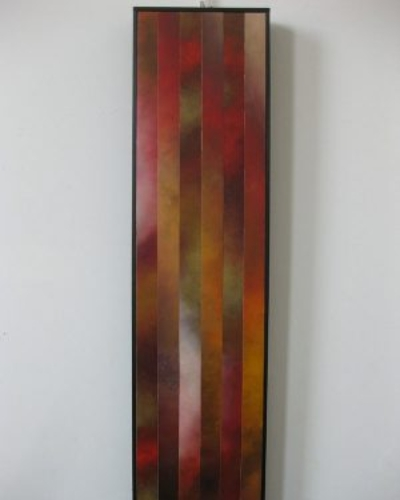 """Rising, 5"", 12""x48"", Oil on canvas, reassembled, 2010"