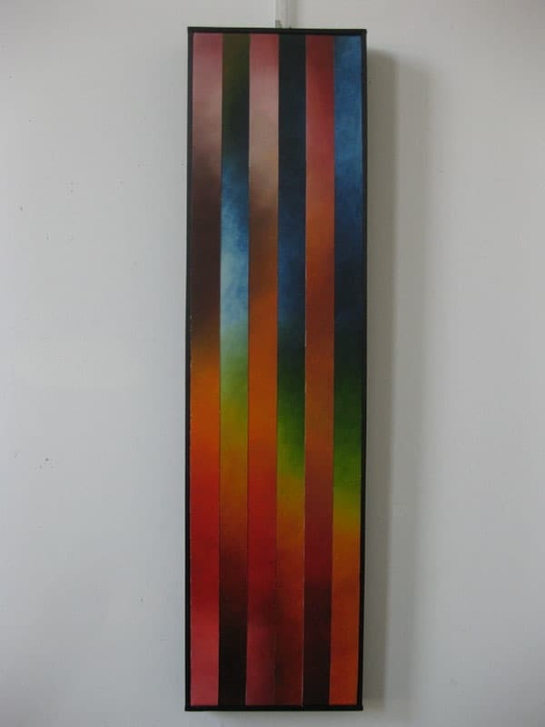 """Rising, 7"", 12""x48"", Oil on canvas, reassembled, 2010 by Joel Traylor"