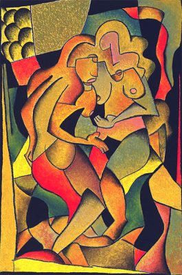 """The Lovers"" - 1999 - oil pastel on paper, 24""x36"" by Joel Traylor"