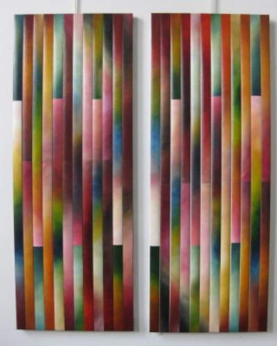 """Veils 8"" - 24""x48"", oil on canvas, reassembled ""Veils 9"" - 24""x48"", oil on canvas, reassembled"