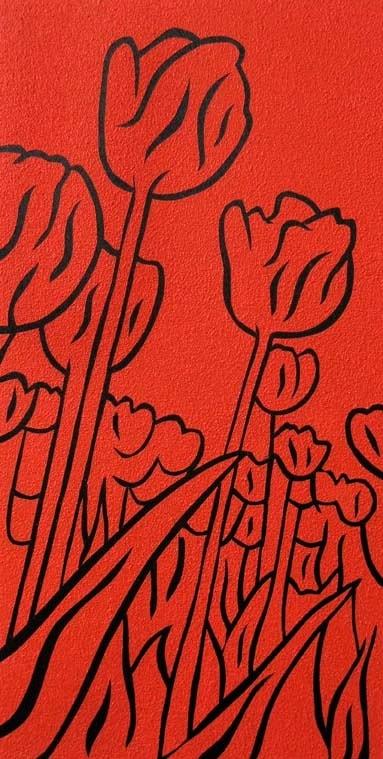 Tulips ~ Acrylic and pumice on panel