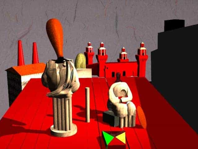 """Disquieting Muses"" 3D rendering of  a Giorgio de Chirico painting.  Made with 3D Max"