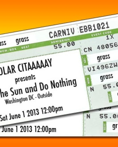 "Web and print design for Washington DC event ""Lie in the Sun and Do Nothing"""
