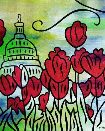 """Spring Capitol""  - 11x14, acrylic and ink on canvas by Joel Traylor"