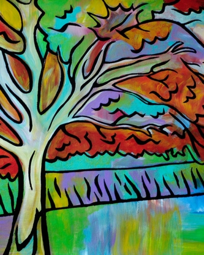 """Dreaming Tree v.2"" ~ 20""x16"", Monoclee on canvas by Joel Traylor"
