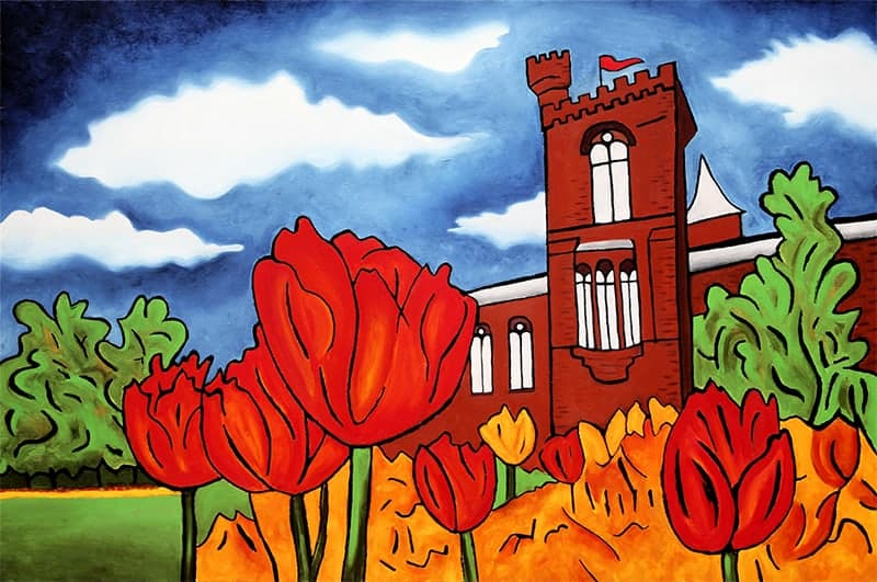 """Smithsonian Castle"" 24""x30"", acrylic on panel, by Joel Traylor Art"