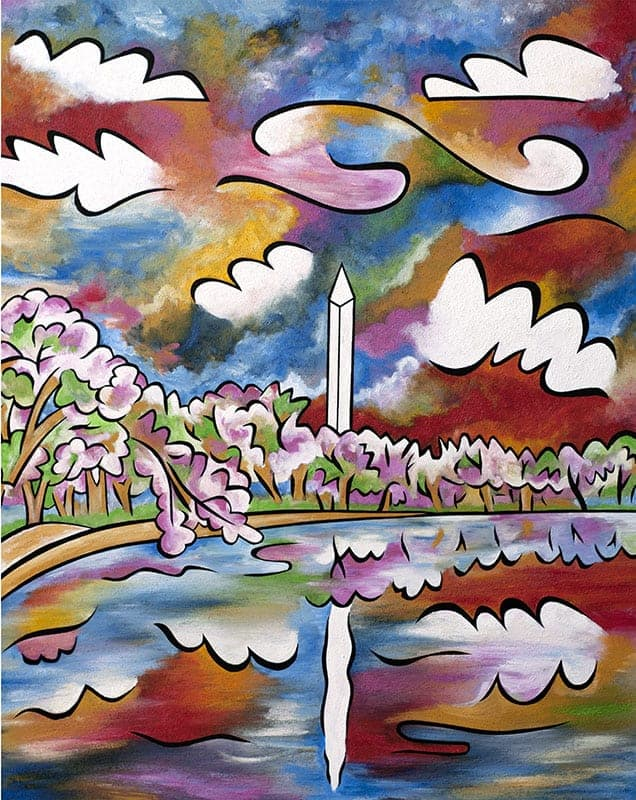"""Tidal Basin Bloom, 1"", 40""x48"", acrylic and sand on panel, by Joel Traylor Art"