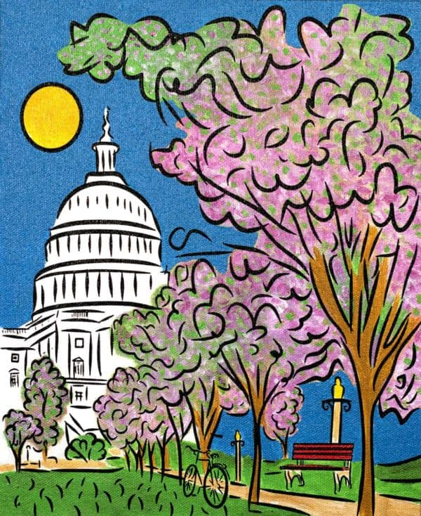 United States Capitol cherry blossom spring painting