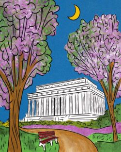 Lincoln Memorial cherry blossom spring painting
