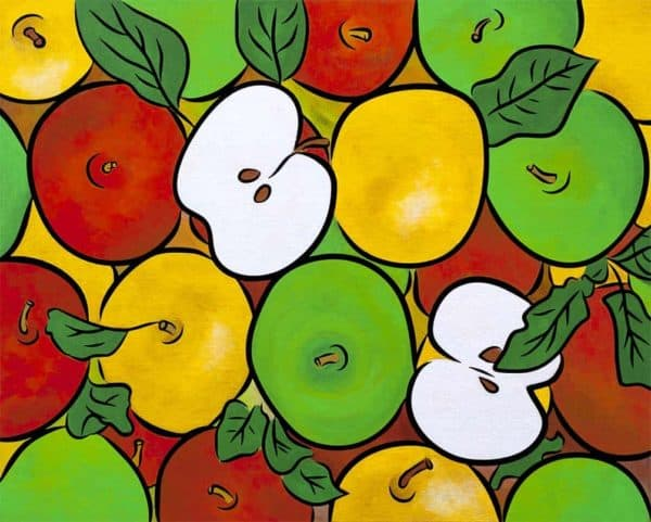 red yellow green apples