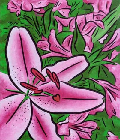lilies rising painting