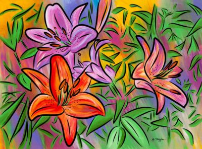 Stargazers lilies painting
