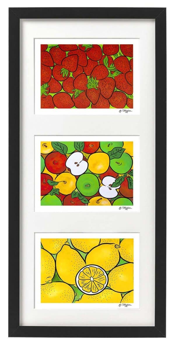 Framed set of three Fruits 1