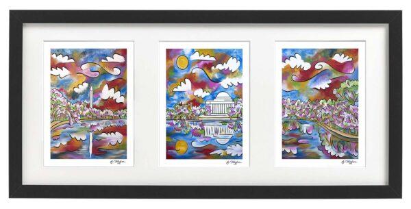 Framed set of three DC ~ Tidal Basin Bloom 1